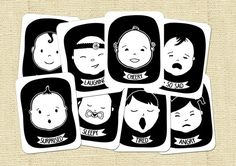 Baby Faces Black and White High Contrast Flash by HelloSprout