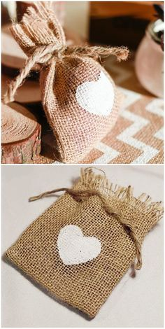 country rustic burlap wedding favor bags with heart