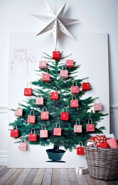 use the ikea christmas tree fabric to display party favors or advent countdown