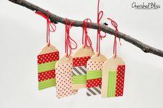 Washi Tape Ornaments made with wooden tags via cherishedbliss.com #christmas #ornaments #washitape