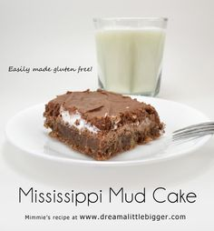 Mississippi Mud cake is a southern tradition of chocolate, marshmallow and pecans.  .