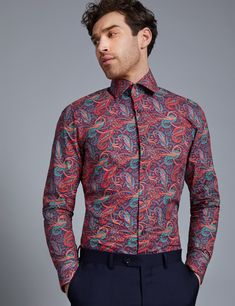 41731bdc2b438 Men s Curtis Purple  amp  Orange Paisley Print Slim Fit Shirt - Single Cuff  £40