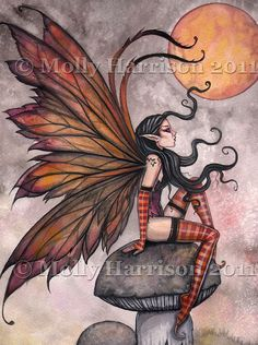 Yellow Moon of Autumn - Fairy Fantasy Fine Art Watercolor Giclee by Molly Harrison