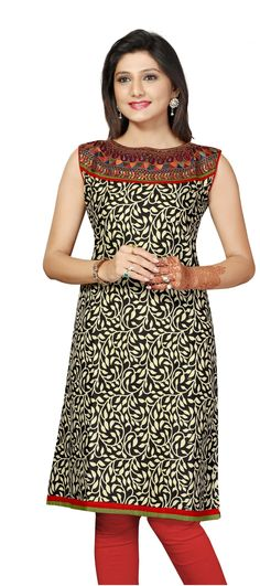 Printed Cotton short sleeves Kurti with Black and Red Color