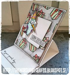 SARI HÄNNINEN - THE NORSU GIRL CRAFTS: GRATTISKORT MED BIRD CRAZY-STÄMPLAR FRÅN TIM HOLTZ
