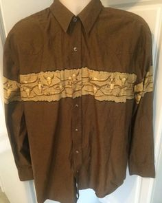 Roper Western Shirt Rodeo Brown Cattle Steer Pearl Snaps Rockabilly Large | eBay