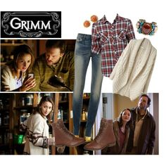 Grimm - Rosalee by evangeline-rodes on Polyvore featuring Forever New, Levi's, Shellys, DANNIJO, David Webb, Tsumori Chisato, skinny jeans, lace-up booties, brown boots and check shirts