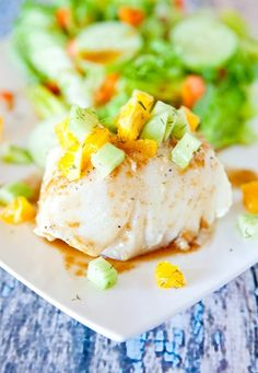 Orange Glazed Chilean Sea Bass with Dill Cucumber & Orange  Relish