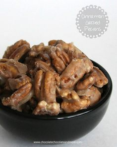"""""""Cinnamon Glazed Pecans, just a few ingredients needed, watch out, they're addicting!""""  AWESOME RECIPE!!!"""