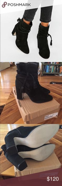 """Dune Onyx Tie Wrap Suede Heeled Ankle Boots Suede upper Point toe Wrap around tie with tassels  High block heel Protect with a suede cleaner  100% Real Leather Upper Heel height: 10cm/4"""" ASOS Shoes Heeled Boots"""