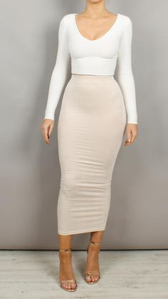 Aaliyah Maxi Length Suedette Bodycon Skirt