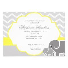 Gray  chevron elephants lemon neutral baby shower personalized announcements