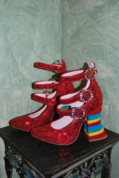Meadham Kirchhoff Kirchoff Topshop Red Sequin Rainbow Shoes BNWB 6 39