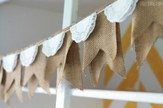 Awesome Clever And Functional DIY Burlap Crafts Design In Burlap Doily Bunting Idea Burlap Projects, Burlap Crafts, Decor Crafts, Fall Crafts, Home Decor, Diy Crafts, Doilies Crafts, Paper Doilies, Doily Bunting