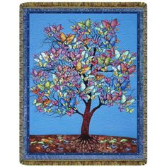 Butterfly Tree Tapestry Throw  #yoga #blanket #healing #meditation #home #homedecor #decorating #reiki #spa #salon #healing #butterfly #tree