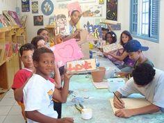 Casa do Zezinho After school program in Sao Paolo, Brazil. Mosaic room, choir teacher.