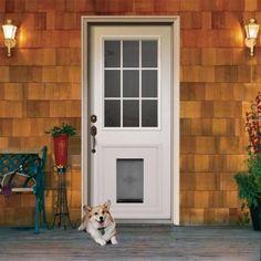 JELD-WEN 9 Lite Primed White Steel Entry Door with Medium Pet Door and Brickmold - THDJW203900014 - The Home Depot