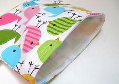 Reusable Sandwich Bag Set Urban Birds Snack Bag by GreenLittleNest, $12.00 #HFecofriendlyeaster
