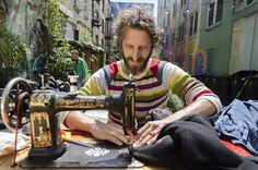 Free Mending Library. On the 15th of every month, Michael Swaine, Prof of Ceramics at Cal. College of the Arts heads over to the Tenderloin in SF and begins mending clothing for free outside The Luggage Store. Swaine appreciates the community of his work, gathering a little social circle around his cart on Ellis Street where he mends people's worn clothing, and possibly acts as an ear for those who need it.
