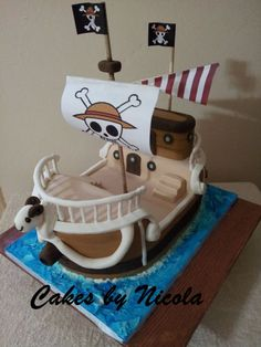 One Piece- Going Merry - Chocolate cake, with gumpaste, fondant and royal icing.