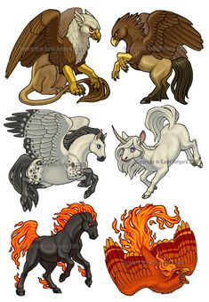 Fabled Set - 1 by *Shadow-Wolf on deviantART Gryphon, Hippogryph, Pegasus, Unicorn, Nightmare and Phoenix