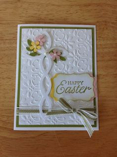 Stampin Up handmade Easter card - cross and flowers, first communion card idea