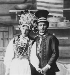 Swedish couple in wedding finery. Swedes, like all Scandinavians, still honor their country's traditional folk dress, donning it frequently for festivals and special occasions.