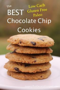 You'll love that these delicious flourless chocolate chip cookies are low carb, gluten free, and paleo friendly. They have a light texture and subtle nutty flavor.