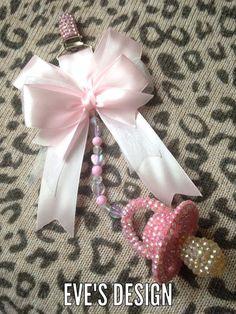 Personalised baby pram charms hand made girls pink dummy //keepsake //gift