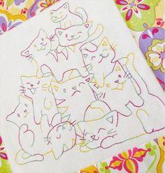 Samelia's Mum: Crazy Cat Mountain Pillow - cat embroidery
