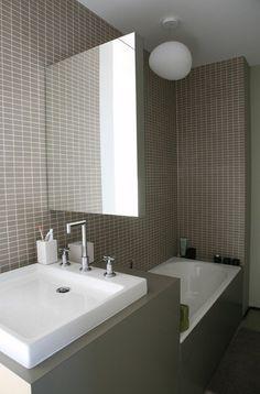 La salle de bains de la chambre d'amis étroite, joue le gain de place, avec des aménagements compacts.