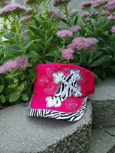 Cowgirl Clad Company - Pink w/ Zebra Print Cross Cadet Hat, $18.00 (http://www.cowgirlclad.com/pink-w-zebra-print-cross-cadet-hat/)