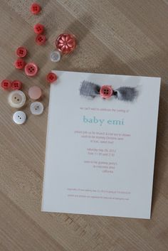 cute as a button baby shower   by way of ney: DIY: baby shower invitation: [cute as a button]
