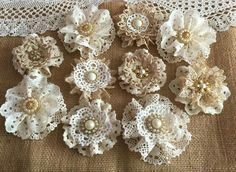 10 shabby chic vintage lace handmade flowers approximately - ***Shabby chic lace flowers are perfect for… Flores Shabby Chic, Bodas Shabby Chic, Shabby Chic Headbands, Shabby Chic Flowers, Shabby Chic Crafts, Burlap Flowers, Shabby Chic Homes, Lace Flowers, Fabric Flowers