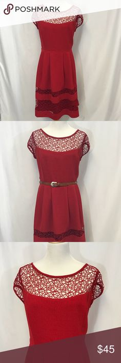 """City Chic Dress, Size 16 Great Red Dress! City Chic, Size S/16 Fully lined Has belt loops 94/6 poly, elastane  EUC! Approx flat lay measurements: Bust: 22"""" Waist 19"""" Length: 38"""" City Chic Dresses"""