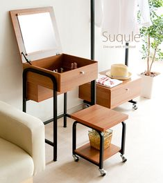 北欧ドレッサー Furniture Vanity, Diy Furniture, Unique Wall Shelves, Dressing Table Design, Small Vanity, Desk Inspiration, Small Room Design, Mid Century Furniture, Home Accessories