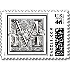 Custom damask wedding logo postage stamps  Repinned by Annie @ www.perfectpostage.com