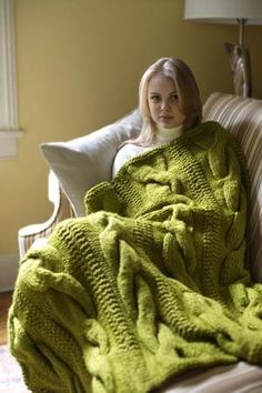 Free Knitting Pattern: Cable Comfort Throw - Hmmm I was needing a pretty throw for the couch... We'll see if I can get enough yarn to do something like this.