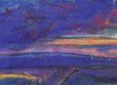 Emil Nolde (German-Danish, 1867 - 1956) - Marsh Landscape (Marschlandschaft), 1930/40 Watercolour on Japan paper, laid down on cardboard