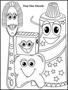 Four Fine Friends Coloring Sheet    Teeth Tooth Dental Care