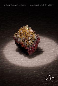 """anello: """"colpi di elettrodo"""" - oro rosso - diamanti"""