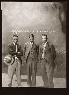 Eddie McMillan, John Frederick 'Chow' Hayes, Thomas Esmond Bollard, Special Photograph number 2057, 6 November 1930, Central Police Station, Sydney