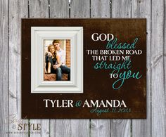 Personalized Family Name Sign with Picture Frame, Family Established Sign, Personalized Picture Frame, God Blessed The Broken Road on Etsy, $69.99
