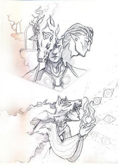 swevenfox:  Ever since I told to tatakikick I sketched a Solas fanart in my sketvhbook she kept nudging me to show, show, show. Well finally I got myself to gather a huge pile of sketches and scanned everything - and for surprise that Solas fanart turned out to be two Solas fanart. v_v  - Both will be coloured digitally someday.