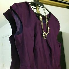 Silk rich purple Banana republic cap sleeve dress Needs a good steaming. Beautiful for business formal events, conferences, awards ceremonies, etc. Necklace not included. Only tried on - does not fit me. Banana Republic Dresses