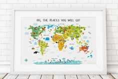 World map for kids that will educate and inspire. Kids World Map is a perfect nursery decor or playroom decor. Cute animal world map for any interior design style. Playroom Wall Decor, Nursery Wall Art, Nursery Decor, Playroom Ideas, Children Playroom, Kids Rooms, Girl Nursery, Nursery Prints, Nursery Canvas