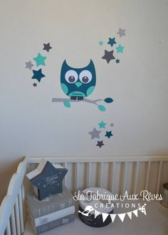 Stickers Hibou Chouette D Coration Chambre Enfant B B Gar On Toiles P Trole Turquoise Cara Be