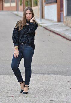 Black Velvet Shirt  , Zara Man in Shirt / Blouses, H in Jeans, Zara in Heels / Wedges