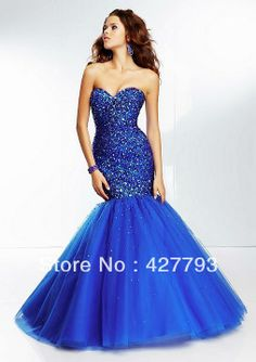Free Shipping Mermaid Sweetheart Beaded Sequin Bodice Corset Red Blue Mermaid Prom Dresses 2014