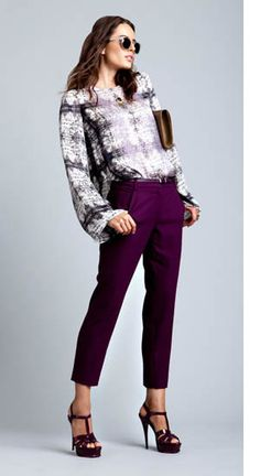 Theyskens' Theory print blouse.  Robert Rodriquez Cropped Trouser